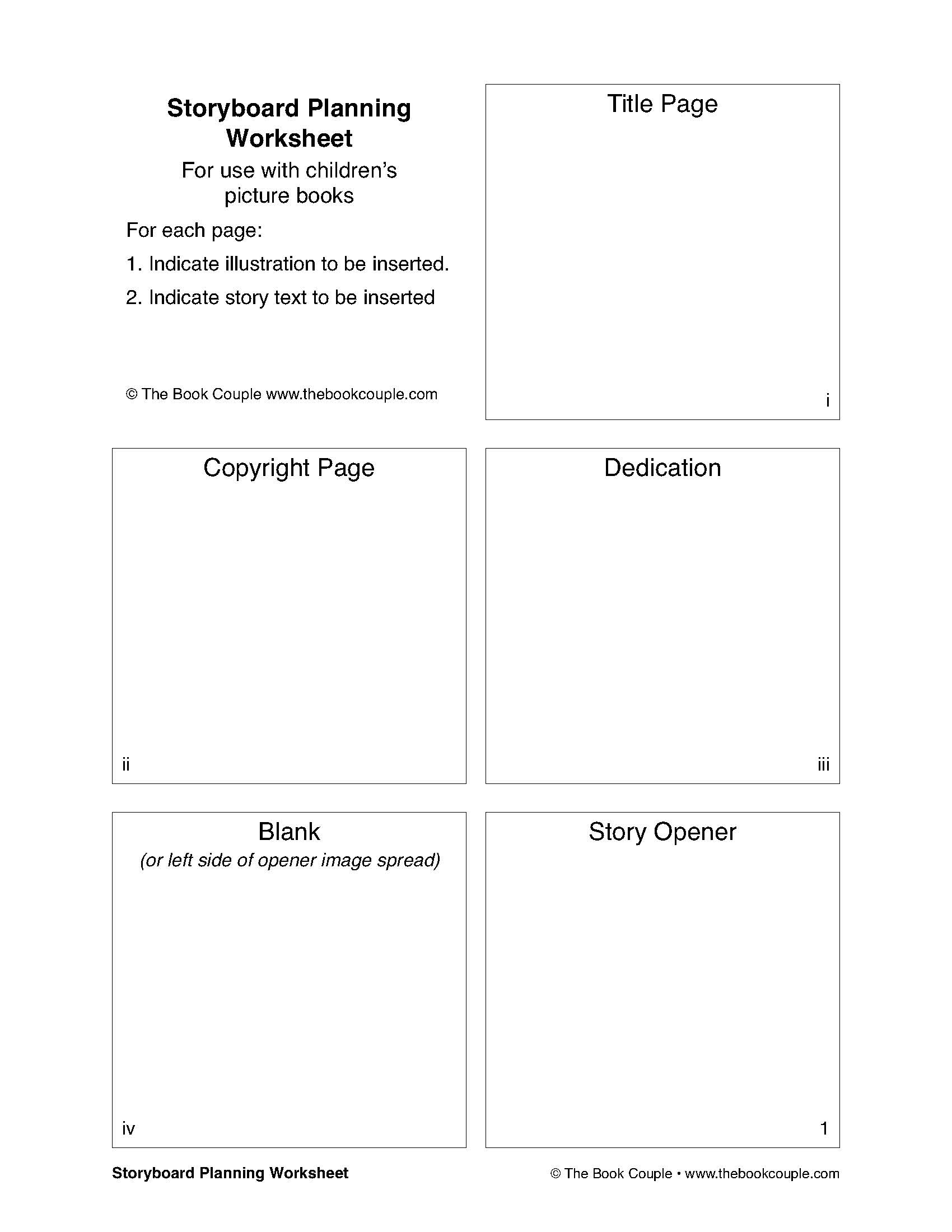 Storyboard Planning Worksheet for Use with Children's Picture Books ...